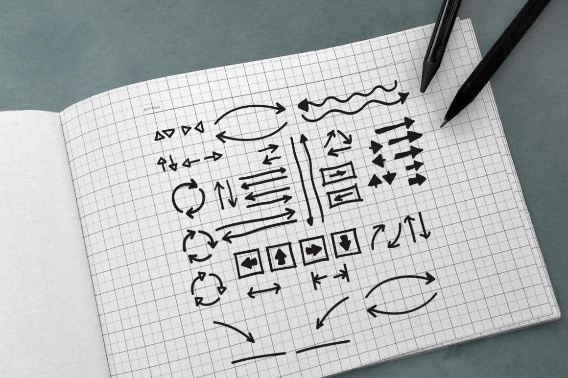100 Hand Drawn Vector Arrows example image 2