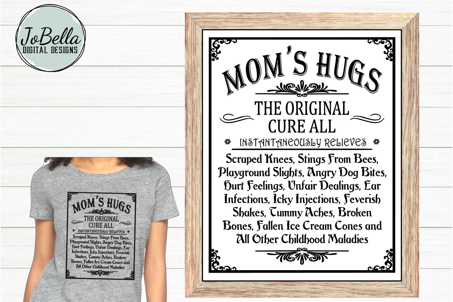 Mom's Hugs SVG and Printable Mother's Day Farmhouse Design example image 1