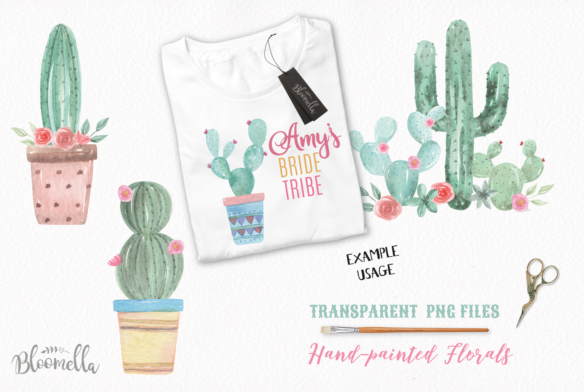 Watercolor Cactus Clipart Bouquets Arrangements Flowers Pink example image 3