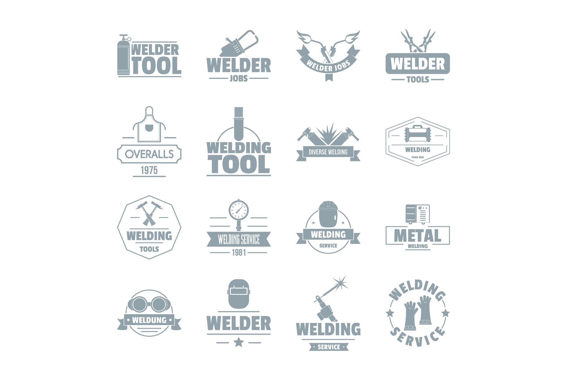 Welding logo icons set, simple style example image 1