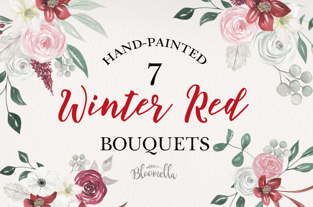 Winter Red Flowers 7 Bouquets Watercolor Florals Festive example image 1