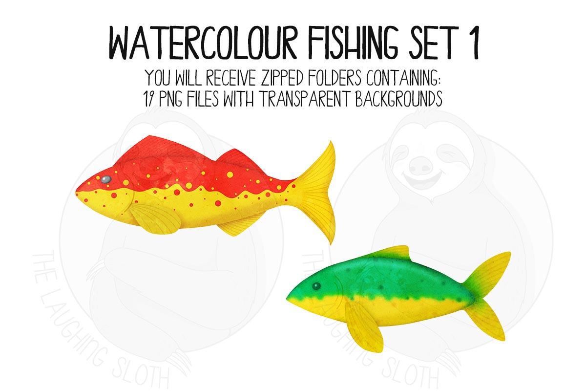 Watercolor Fishing Clip Art Set 1 example image 7