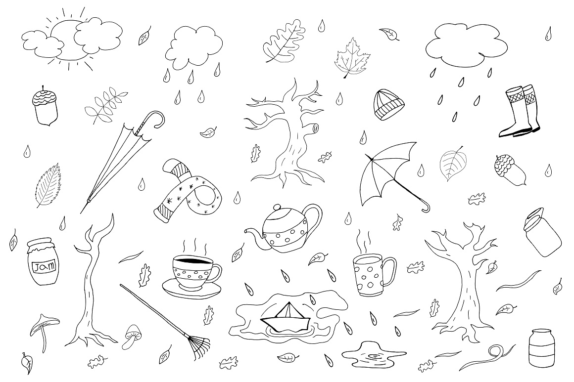 Autumn collection in doodle style. example image 1