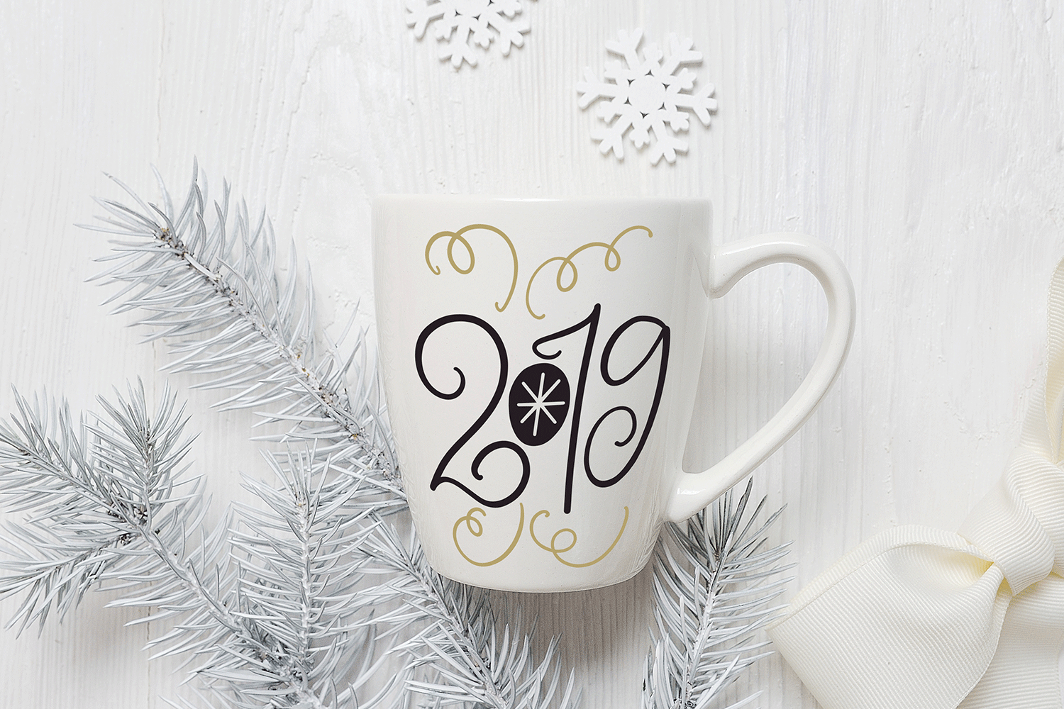 New Year SVG - 2019 Hand-Lettered Cut File example image 1