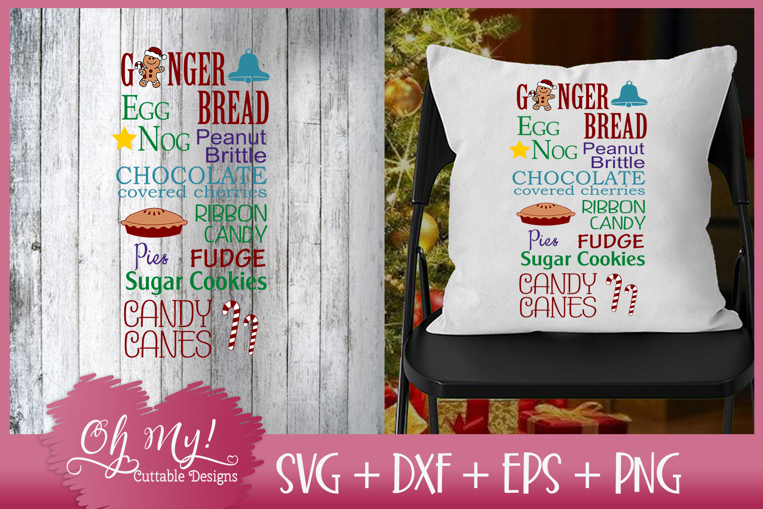 Gingerbread - Eggnog - Candy Canes - SVG DXF EPS PNG example image 1