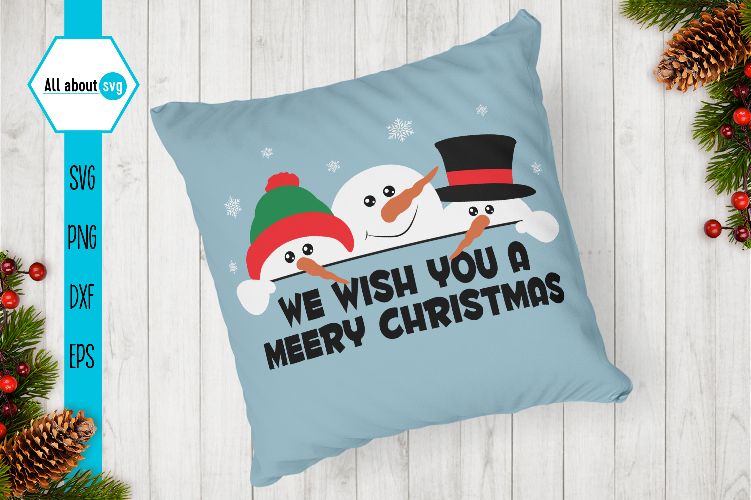 Snowman Svg, We wish You a Merry Christmas Svg example image 3