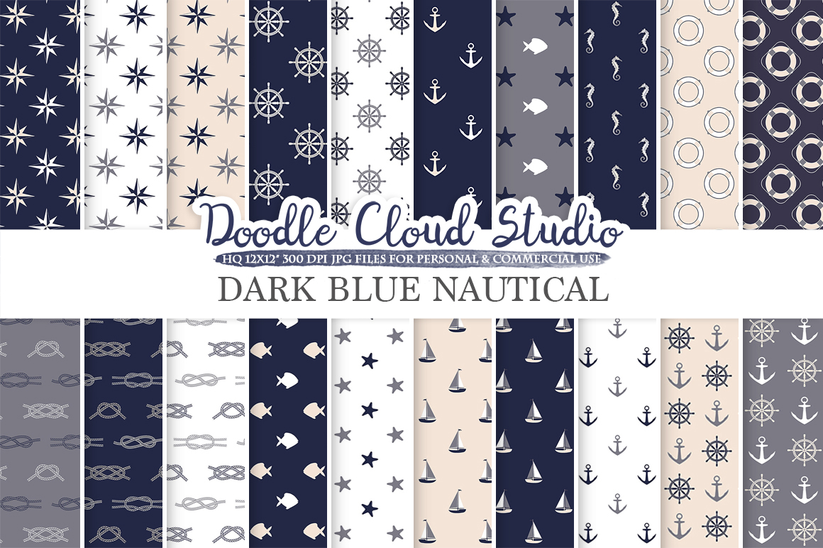Dark Navy Blue Cream Gray Nautical digital paper, Seal patterns Ocean Steering wheel Sea Waves Anchors backgrounds Personal & Commercial Use example image 1