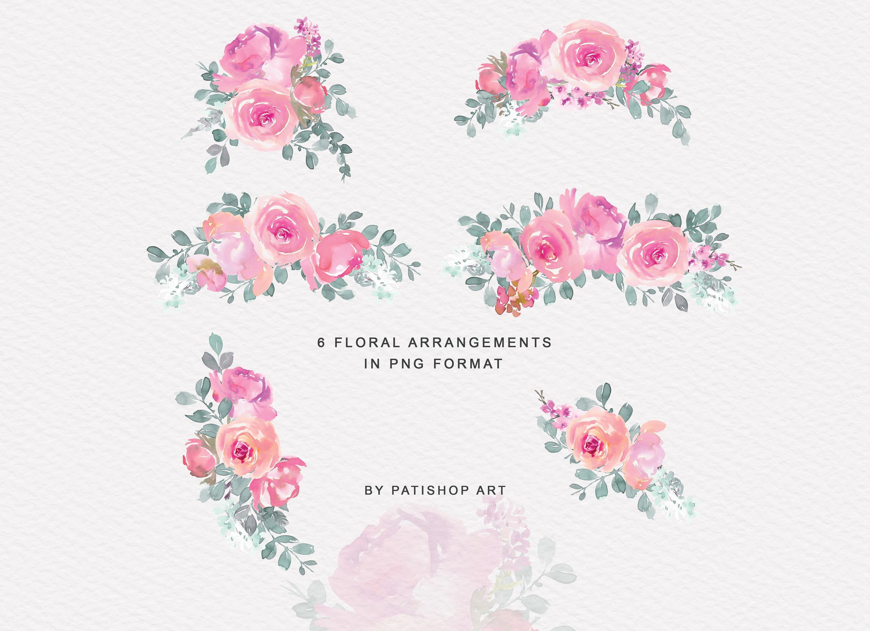 Pink and Turquoise Watercolor Floral Clipart Collection example image 5