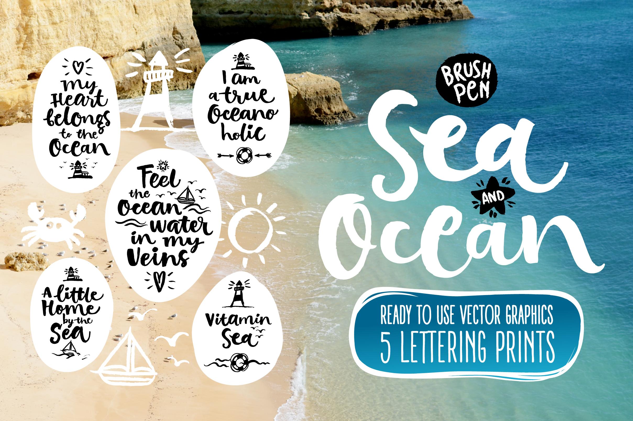 Vector SEA and OCEAN brushpen set example image 1