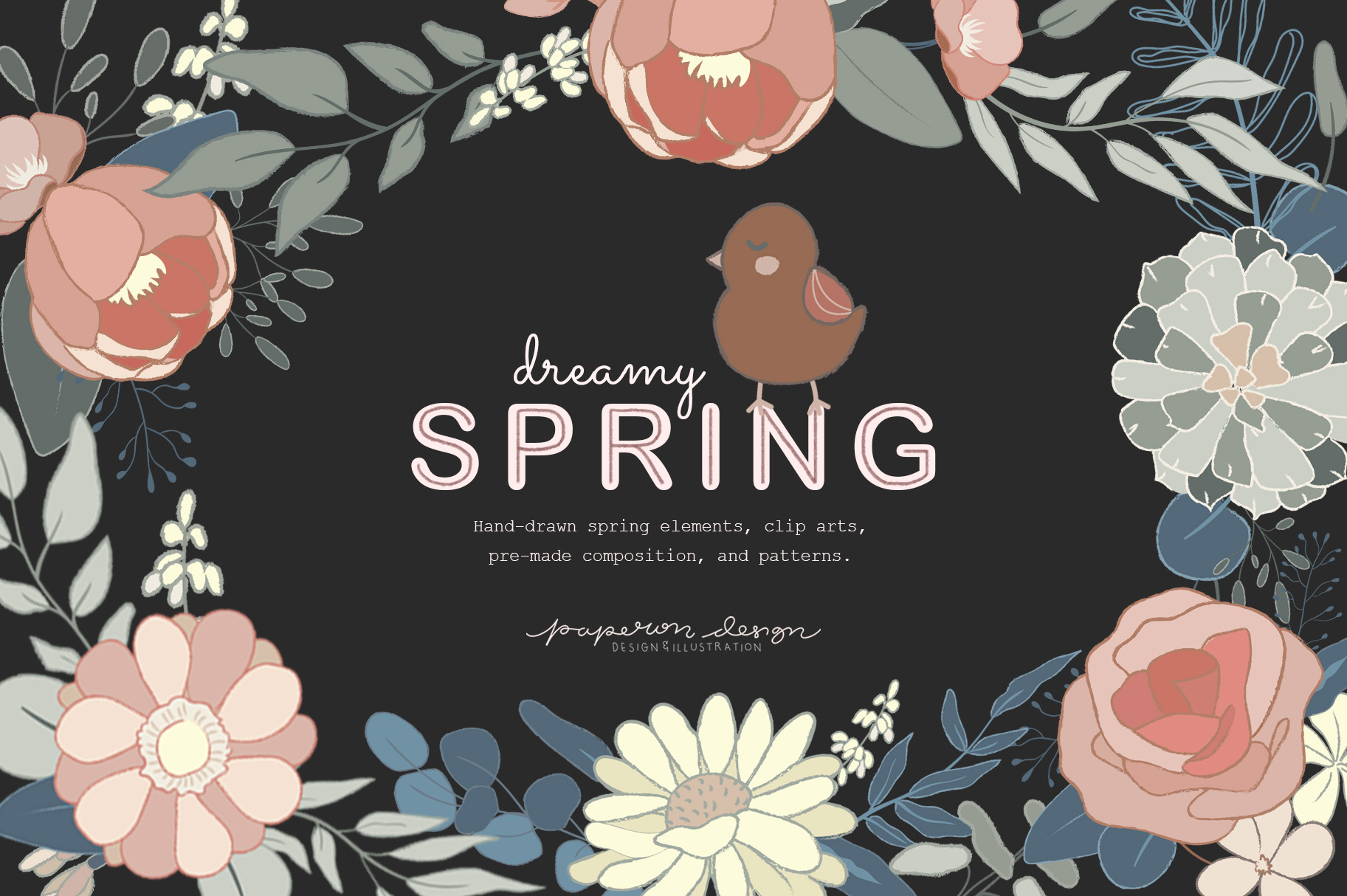 Dreamy Spring Cliparts & Patterns example image 1