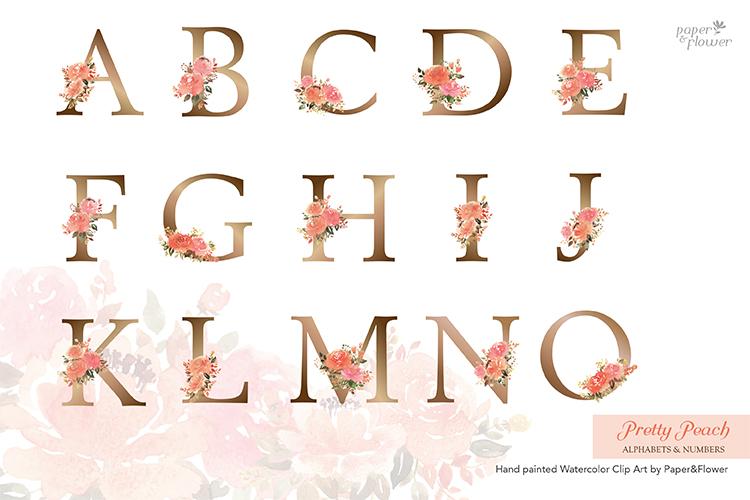 Peach Rose Watercolor Alphabet Set example image 2