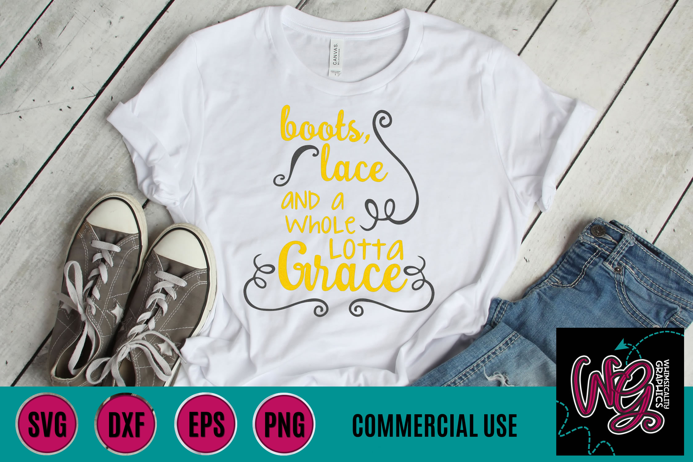 Boots Lace Whole Lotta Grace SVG DXF PNG EPS Commercial example image 1