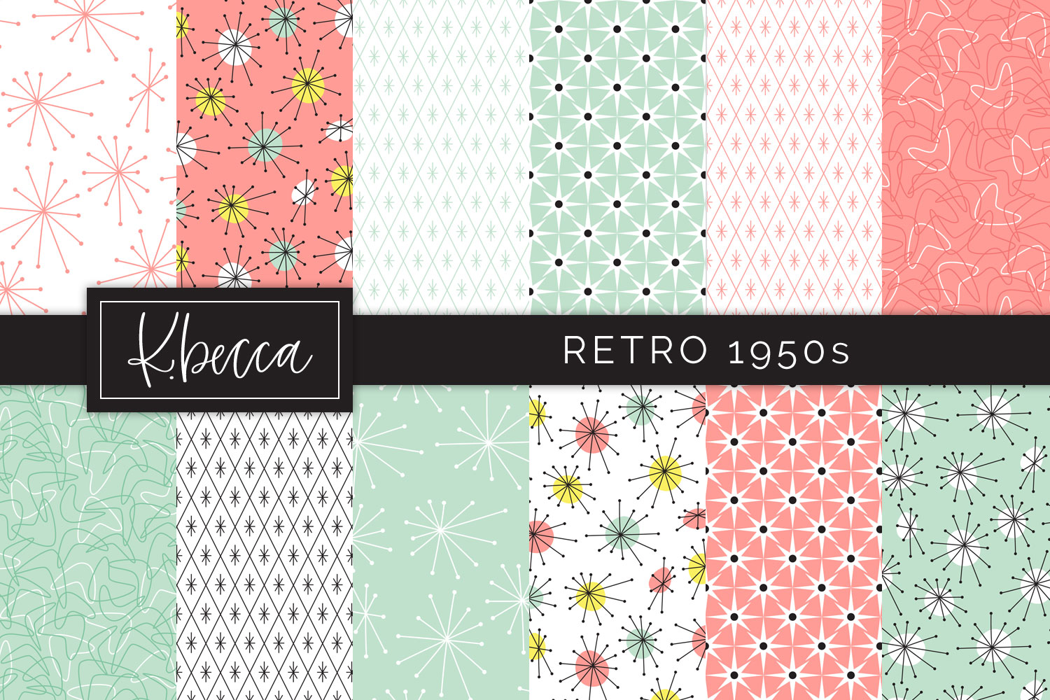 Retro 1950s Background Patterns Seamless example image 1