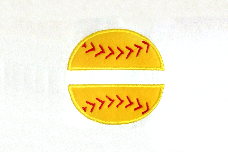 Baseball or Softball Split Applique Embroidery Design example image 2