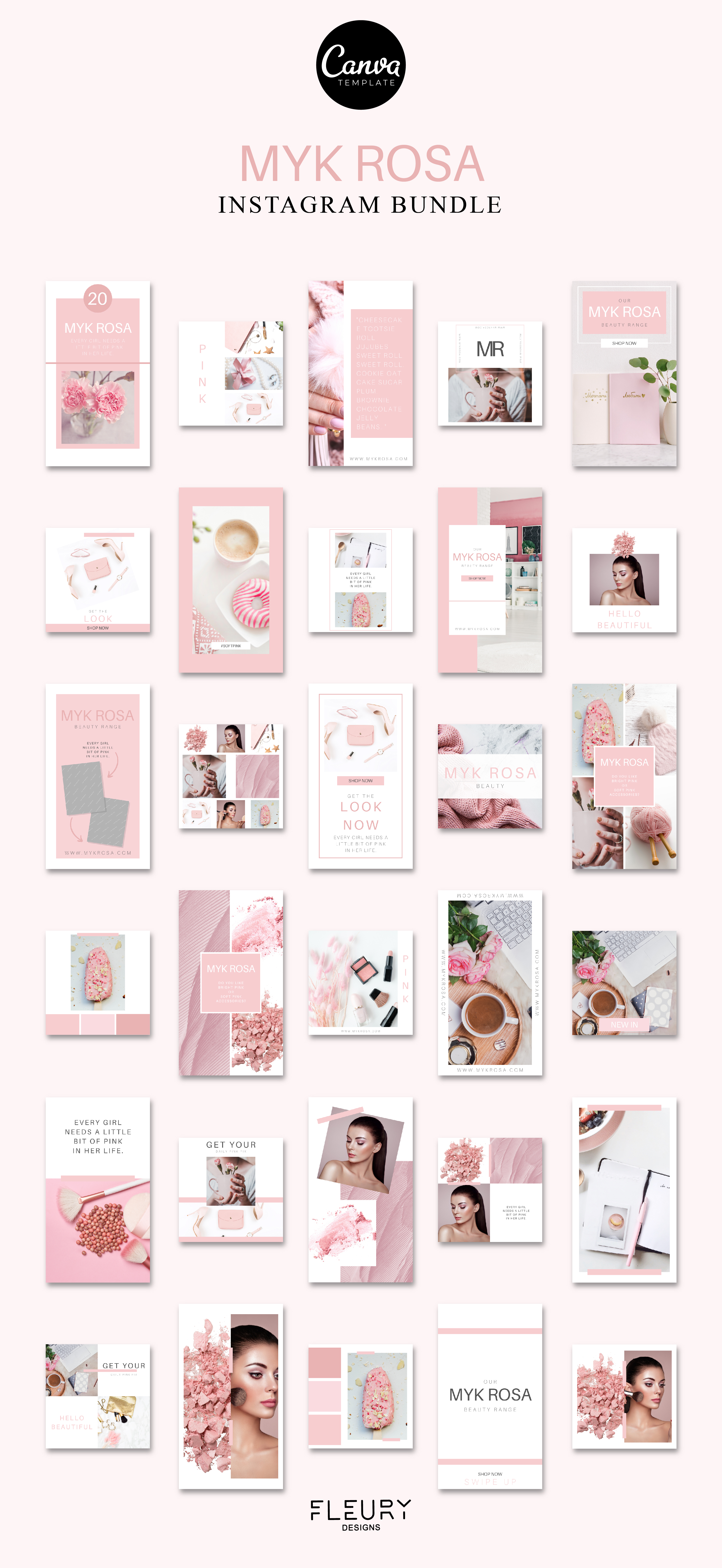60 Instagram Post & Story Templates For Canva - Myk Rosa example image 5