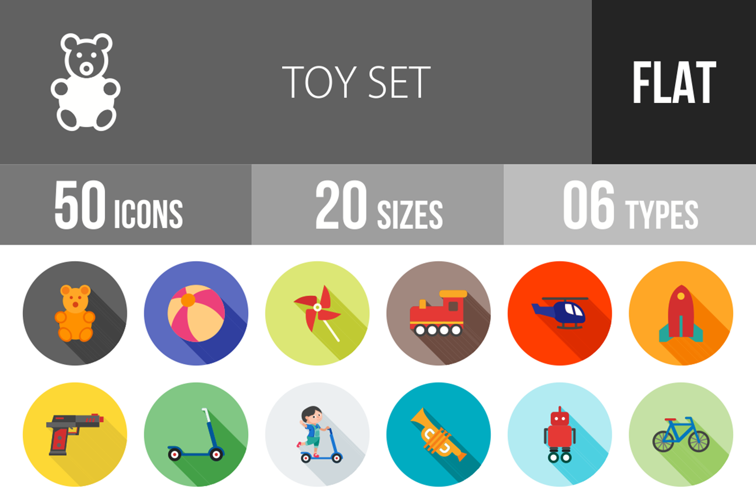 50 Toy Set Flat Long Shadow Icons example image 1