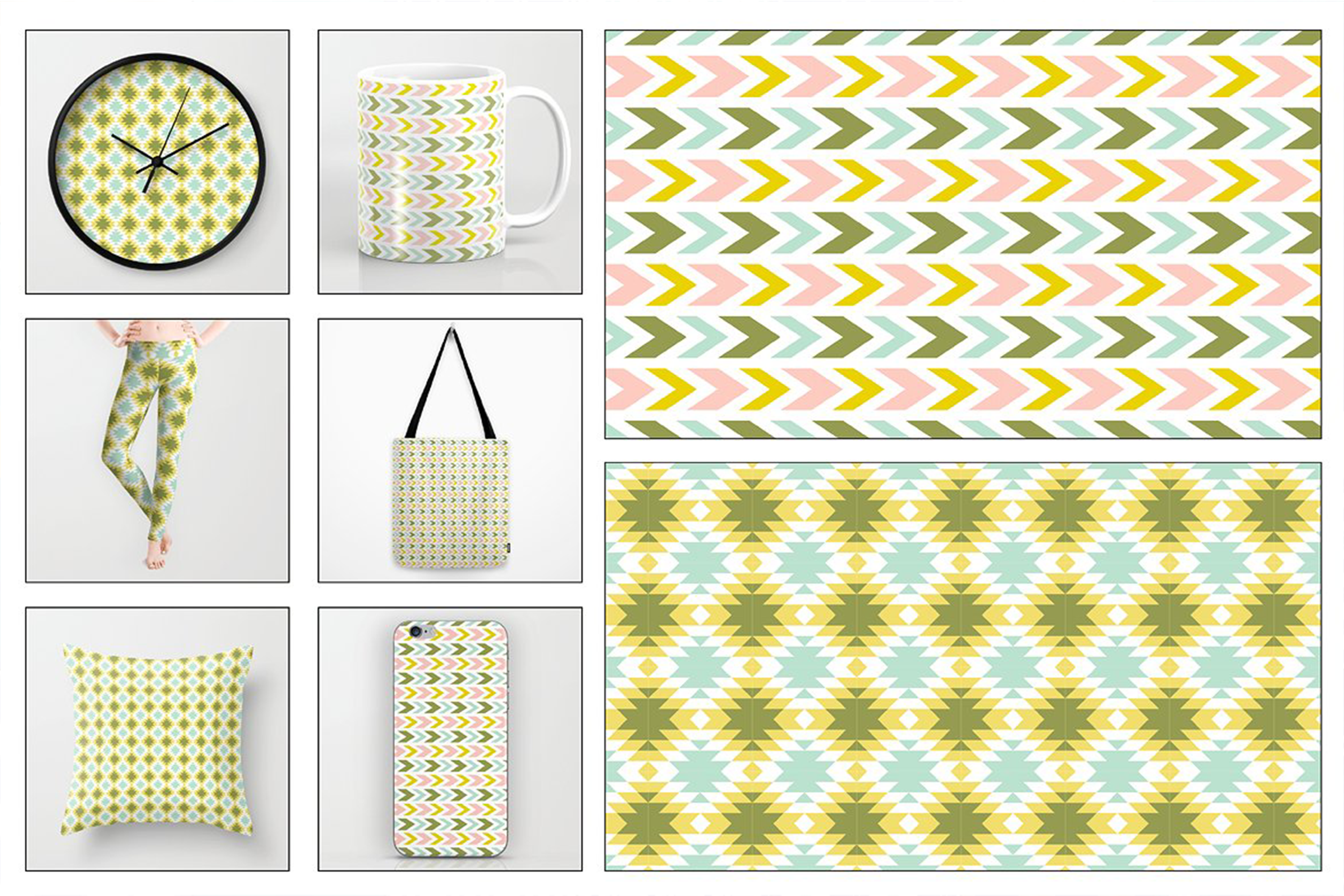 Seamless Pastel Native American Patterns example image 3