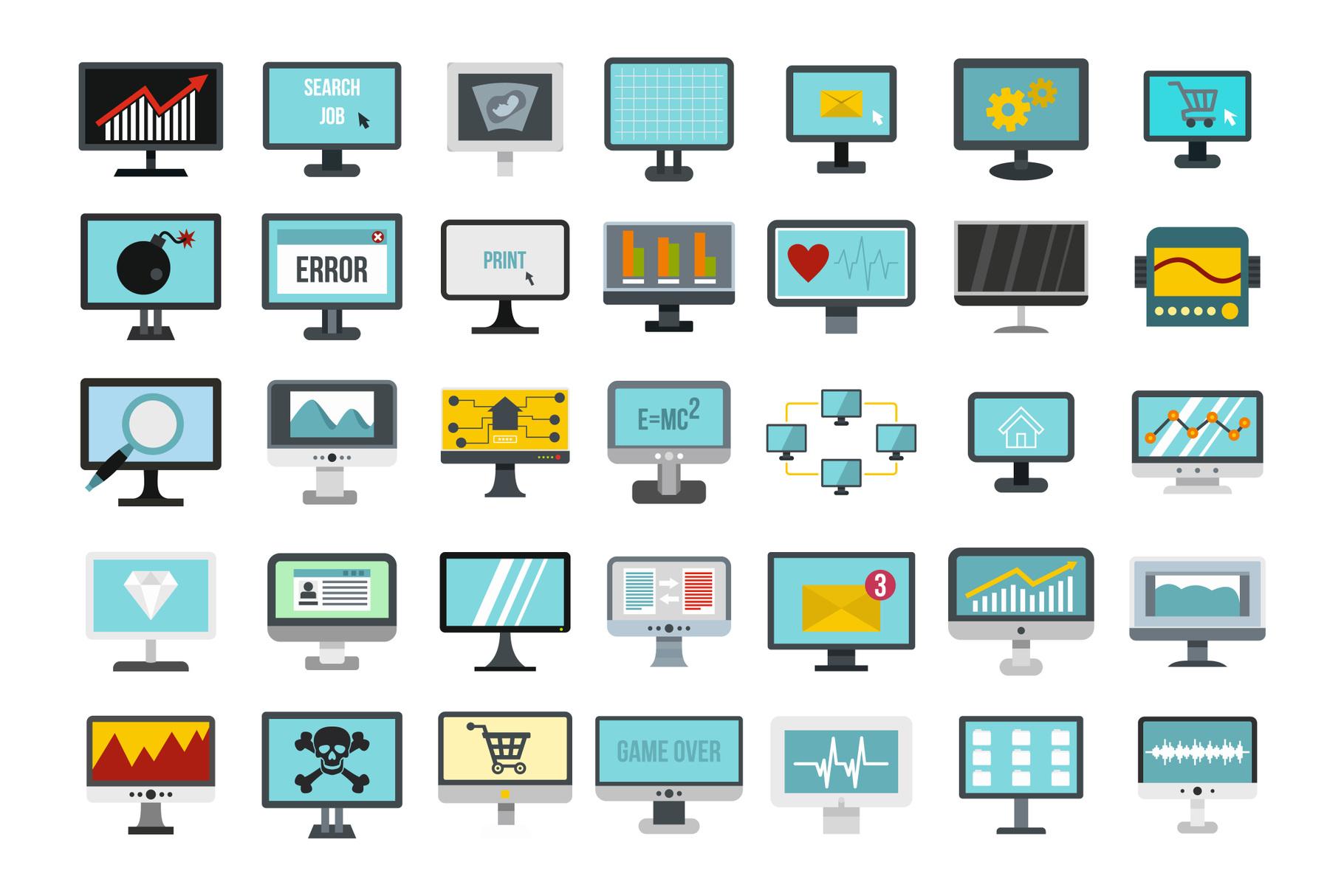 Monitor icon set, flat style example image 1
