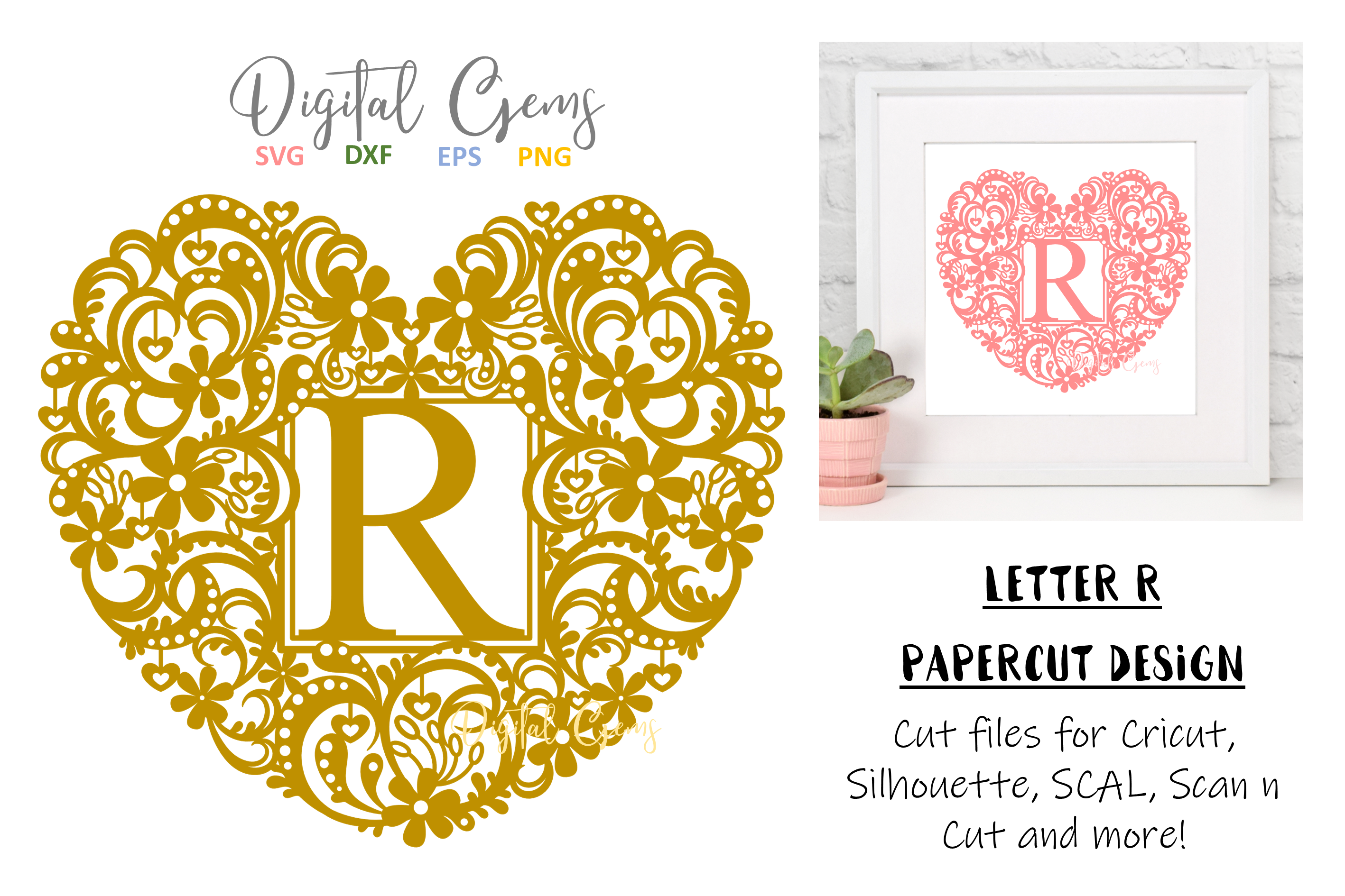 Letter R paper cut design. SVG / DXF / EPS / PNG files example image 1