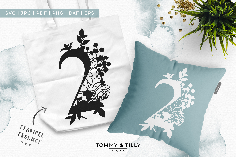 2 - Floral Bouquet Number Design - Paper Cut SVG EPS DXF PNG example image 4