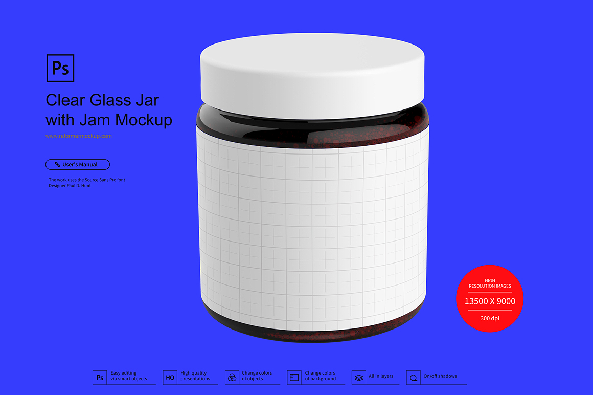 Clear Glass Jar with Jam Mockup example image 3