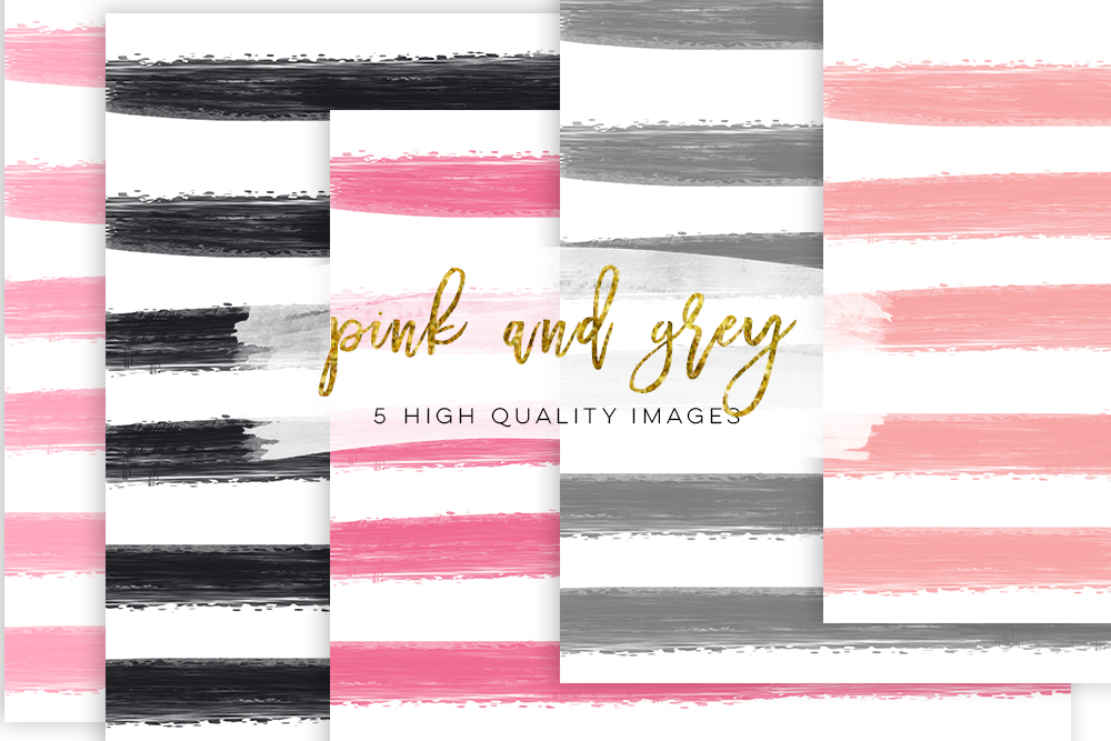 striped paper, pink and grey paper, pink grey digital paper, textures digital, watercolour digital pink stripe digital paper scrapbooking example image 1
