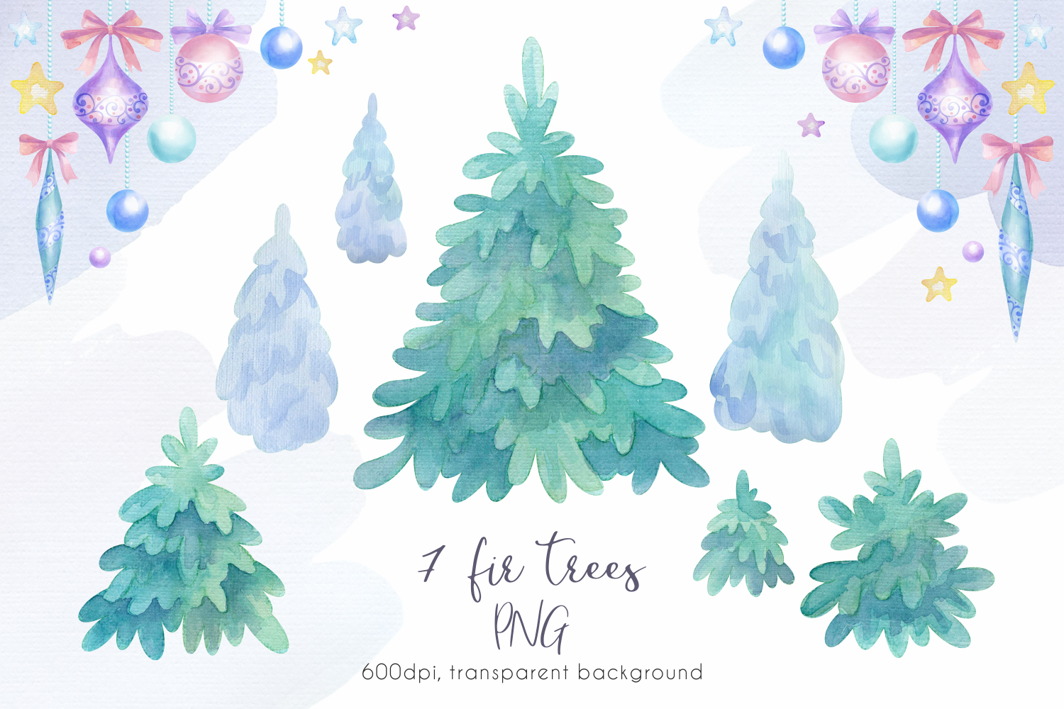 Woodland party. Watercolor Christmas set example image 4