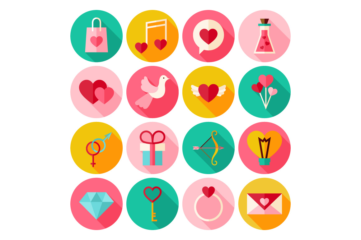 Valentines Day Vector Flat Icons example image 3