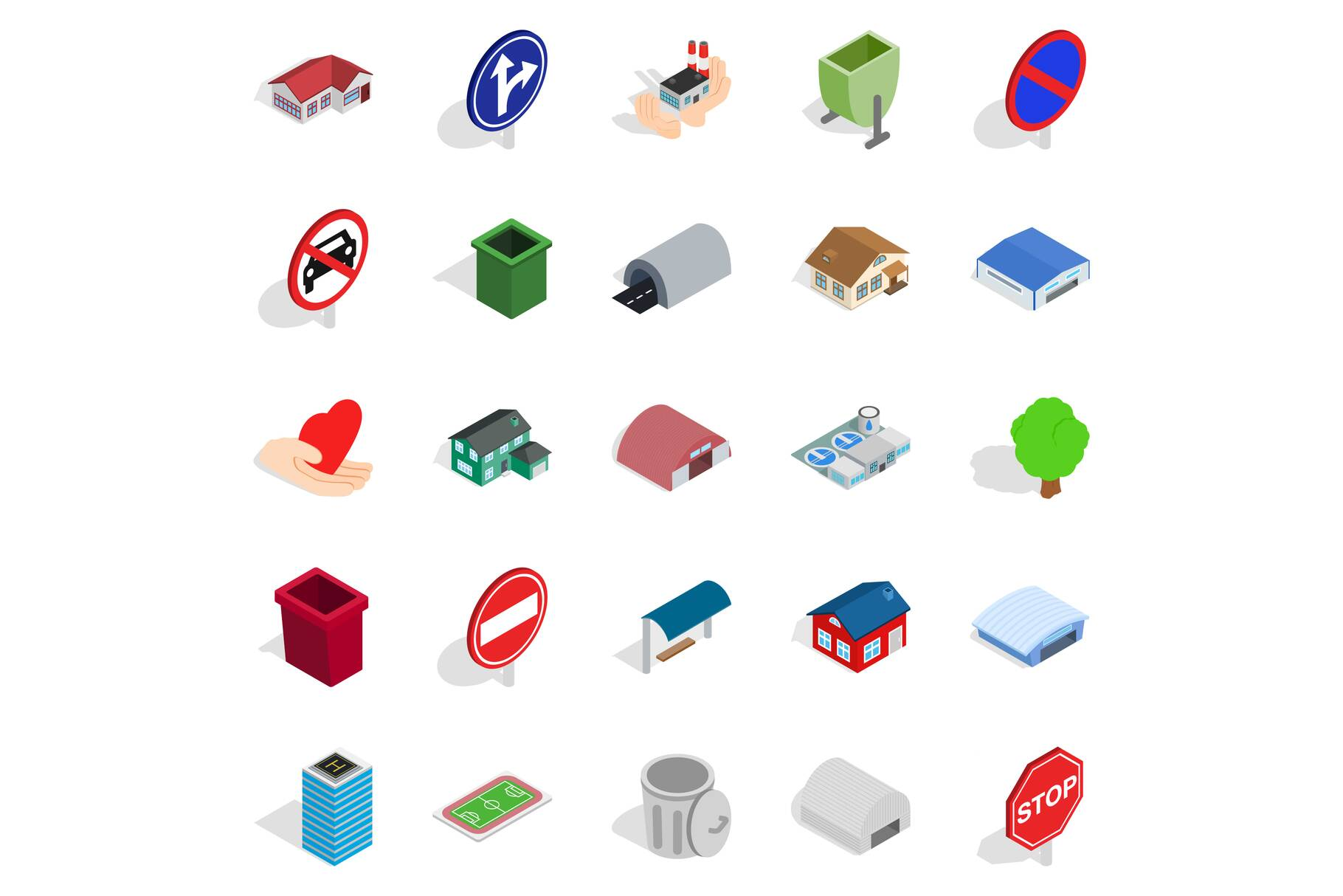 Town buildings icons set, isometric style example image 1