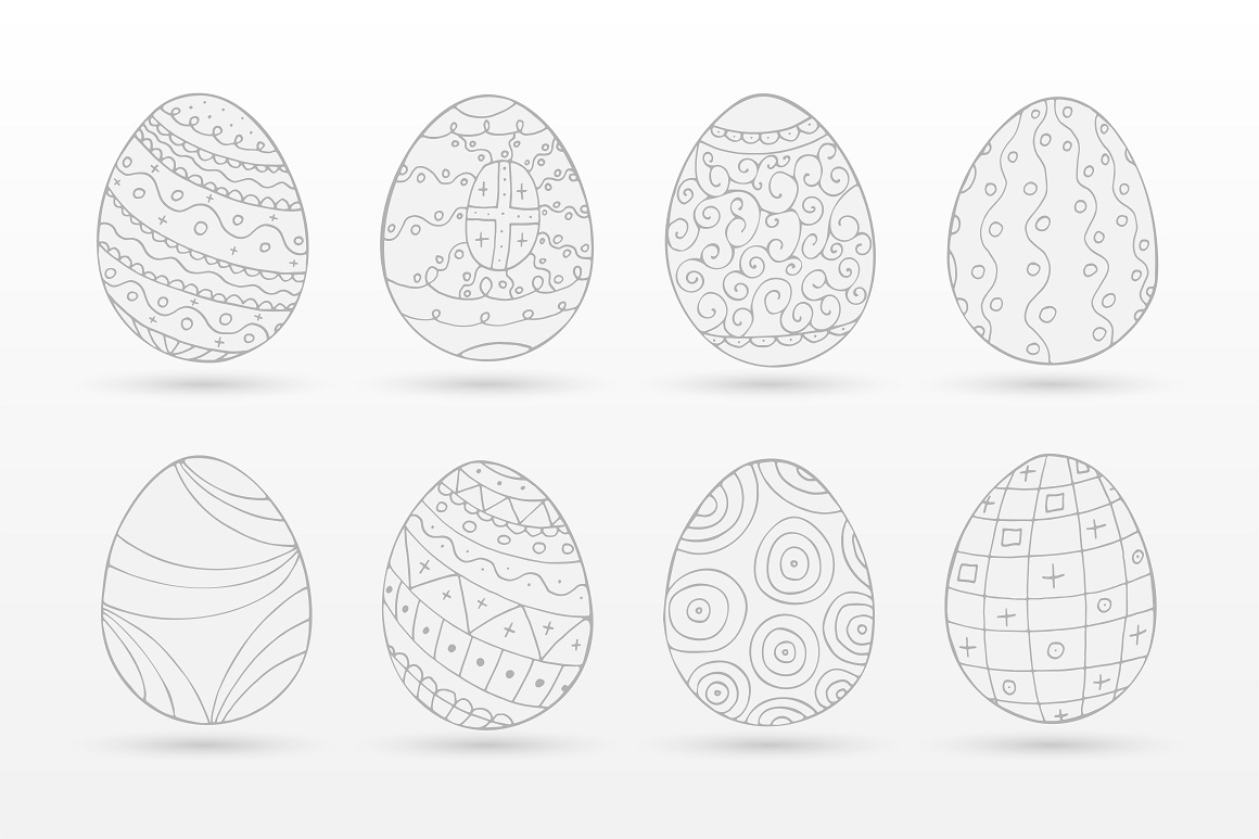 Hand drawn easter eggs-doodle style example image 1