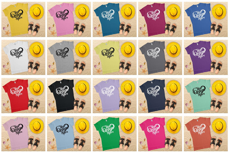 Gildan Ladies T-Shirt Mockup Mega Bundle Flat Lay 64000L example image 4