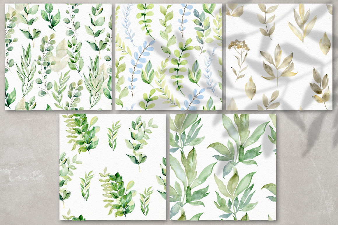 Watercolor leaves clipart. example image 7