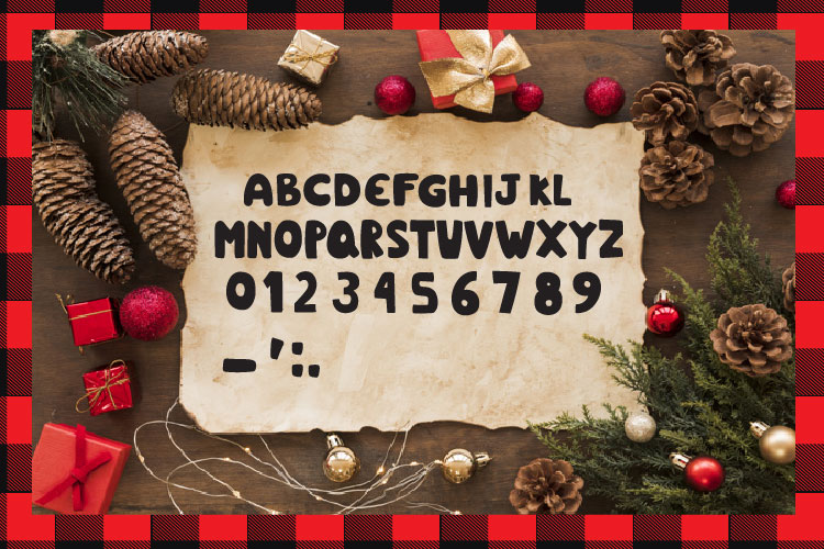 Christmas buffalo plaid font with doodles elements example image 4
