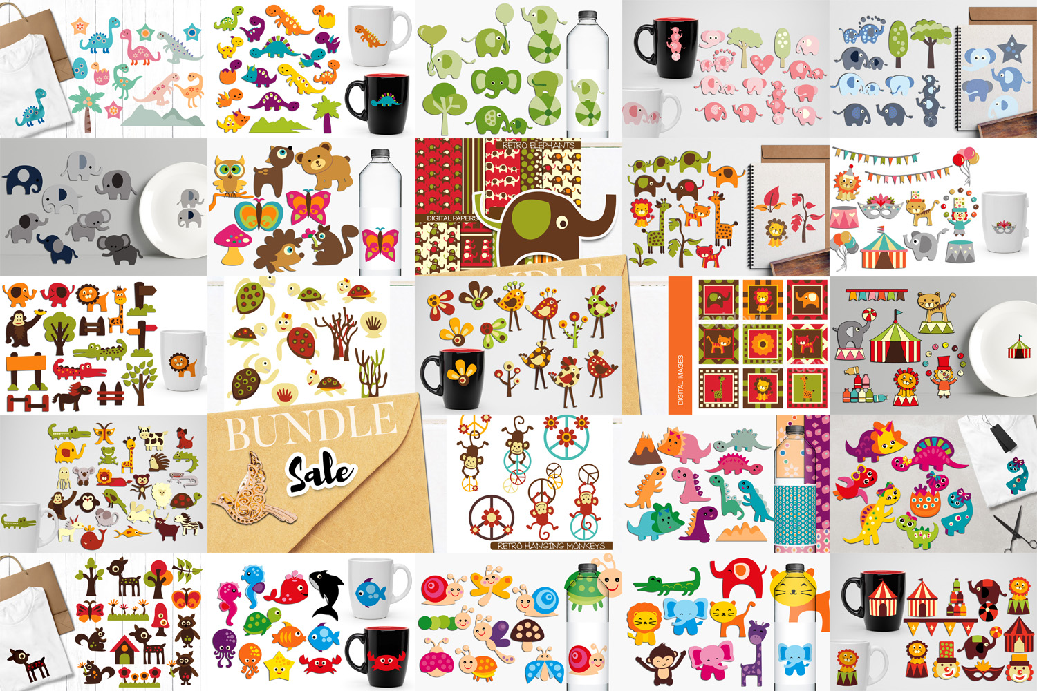 Animals Clip Art Illustrations Huge Bundle example image 2