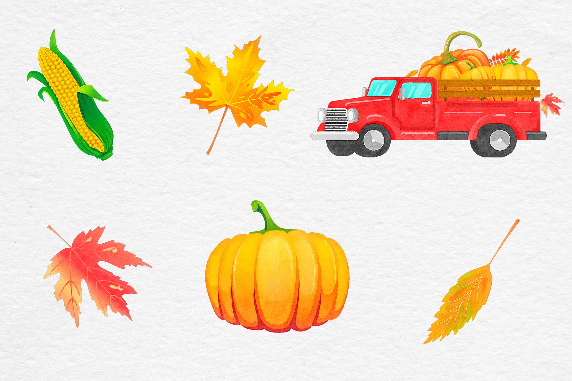 Watercolor Pumpkin Truck example image 3