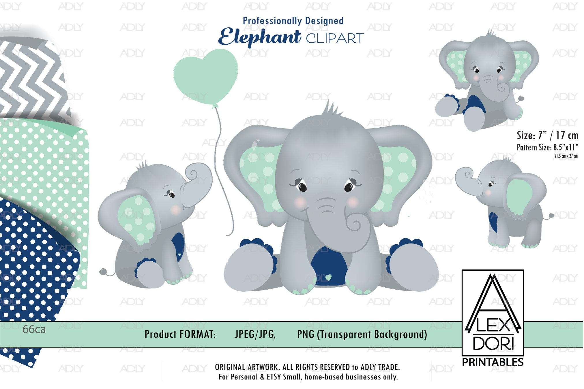 Mint and Navy Blue Baby Boy Elephant PNG with backgrounds-3 example image 1