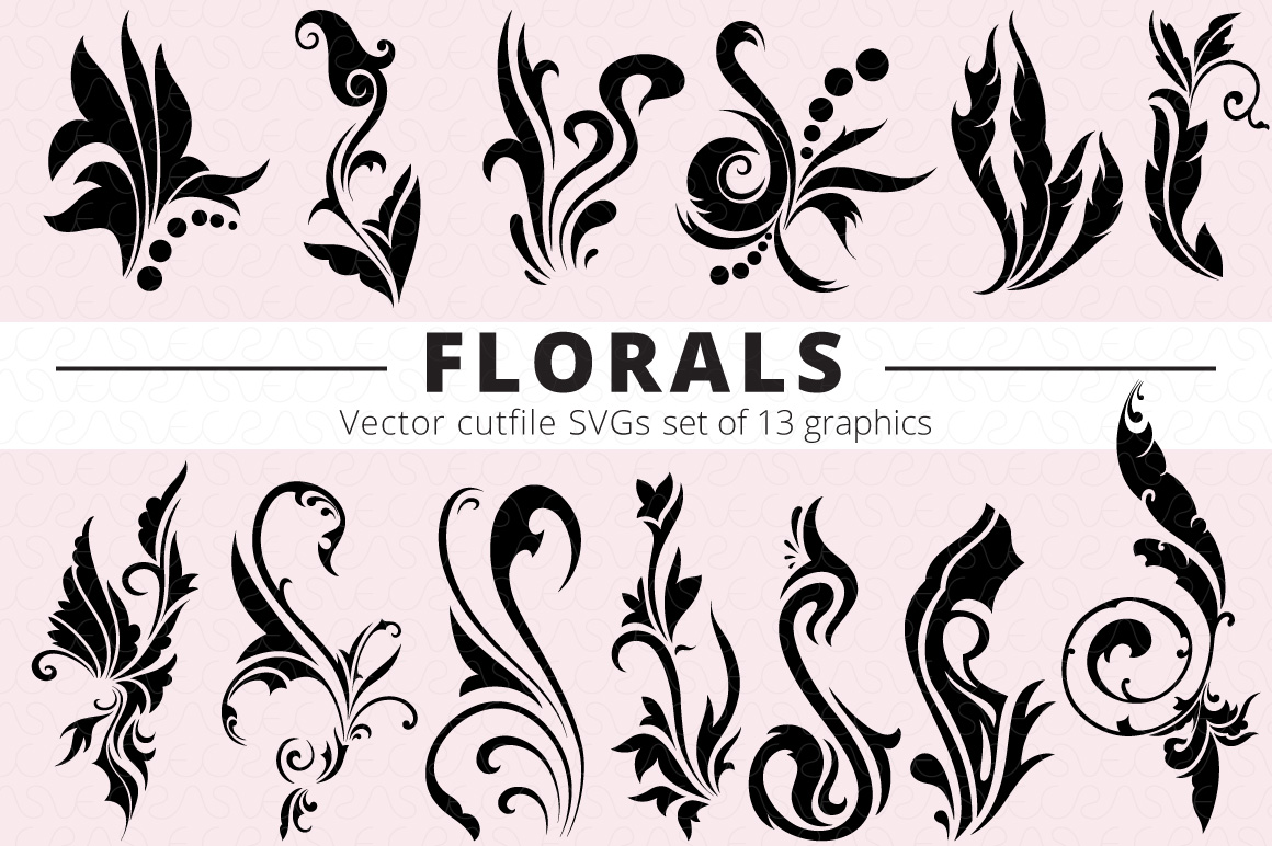 SVG Florals Cutfiles Bundle Pack of 270 vector graphic shape example image 9