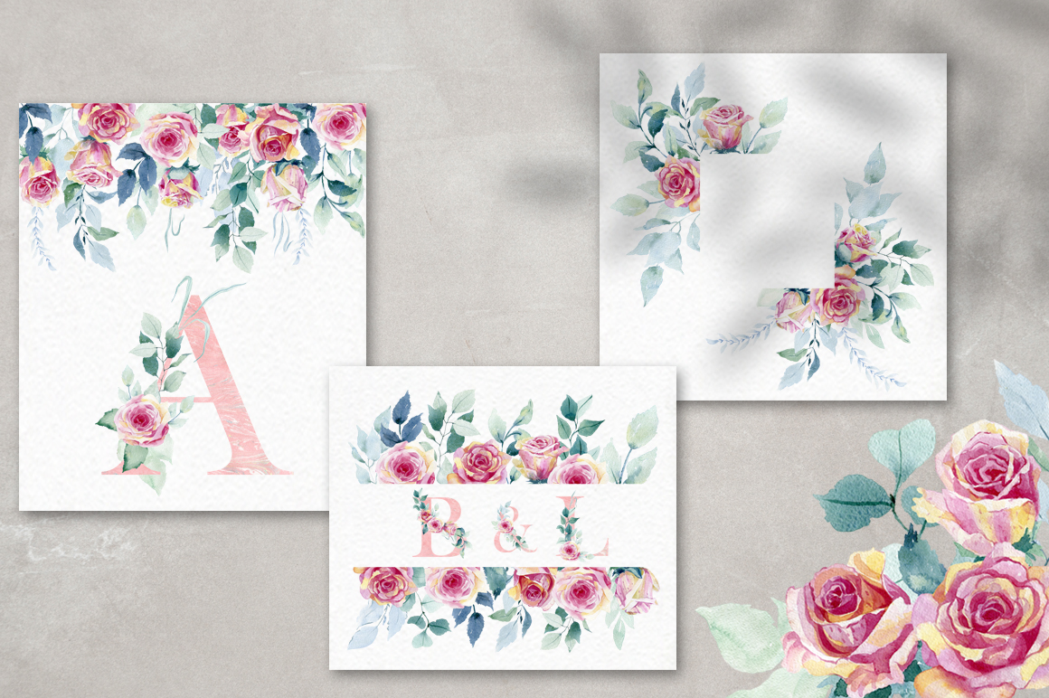 Watercolor roses. Alphabet. example image 8