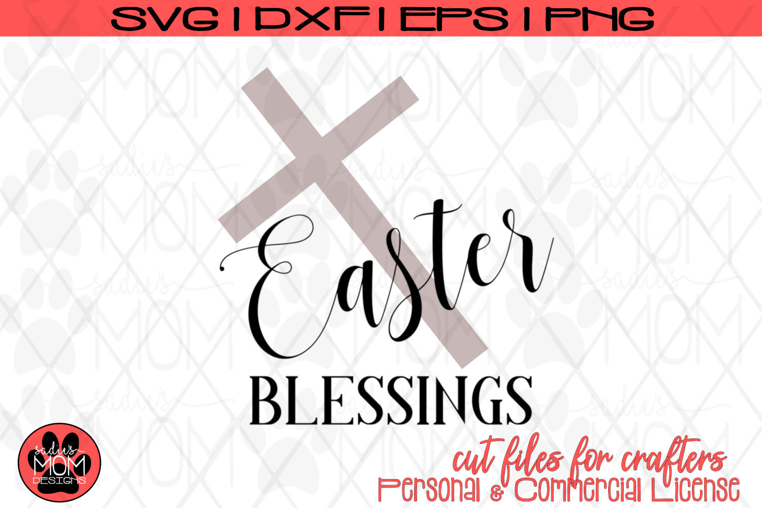 Easter Blessings with Cross | SVG Cut File example image 2