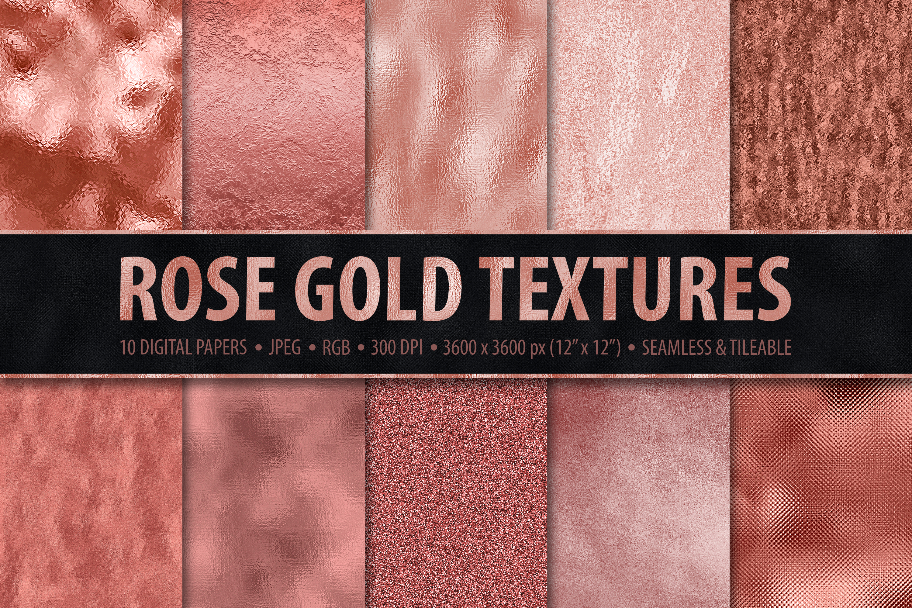 Seamless Rose Gold Digital Paper - 10 Metallic Foil Textures example image 1