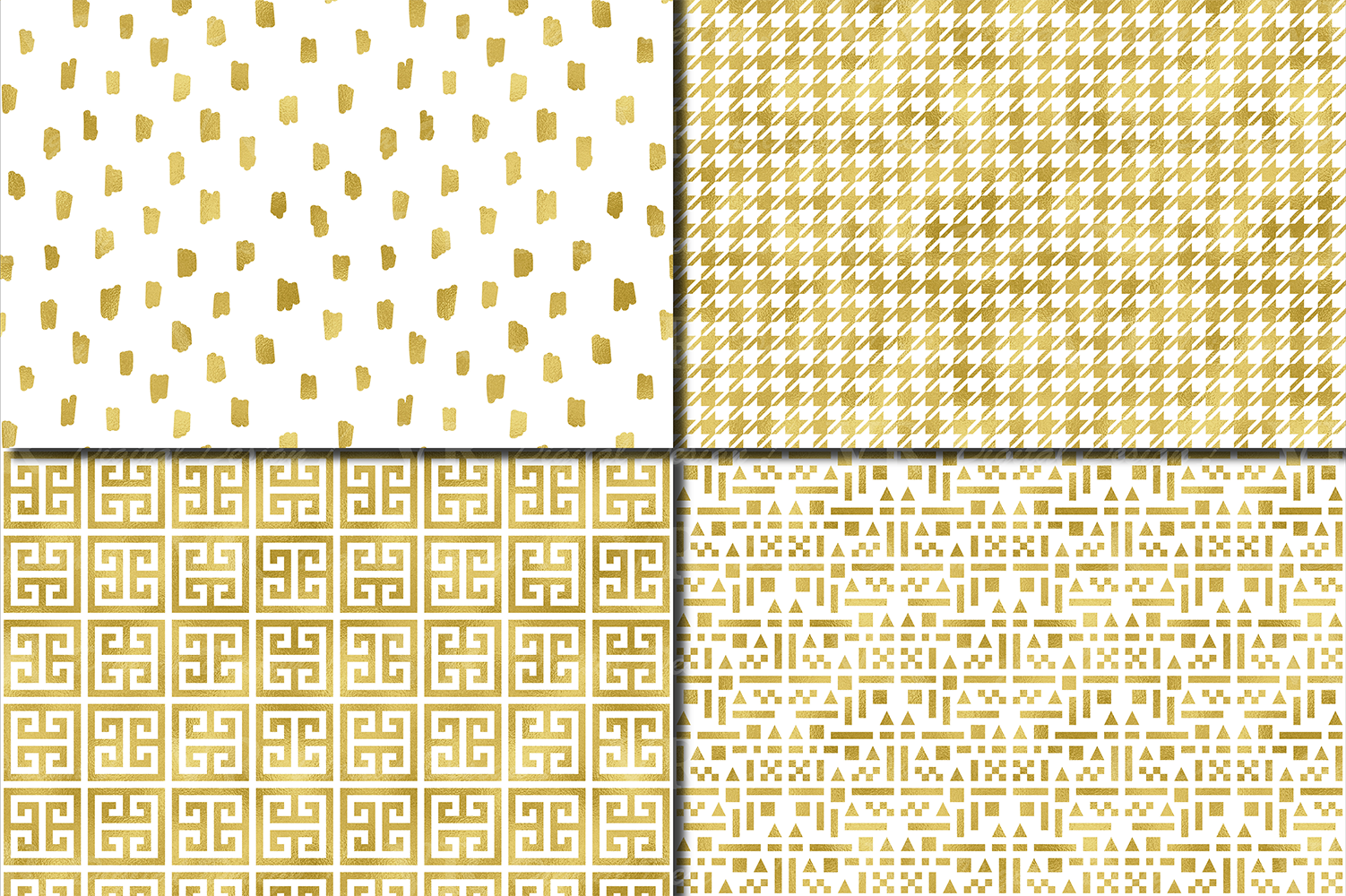 Gold foil seamless geometric patterns / Gold digital paper example image 3