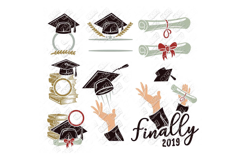 Graduation SVG Monogram Hat Cap in SVG, DXF, PNG, EPS, JPEG example image 3