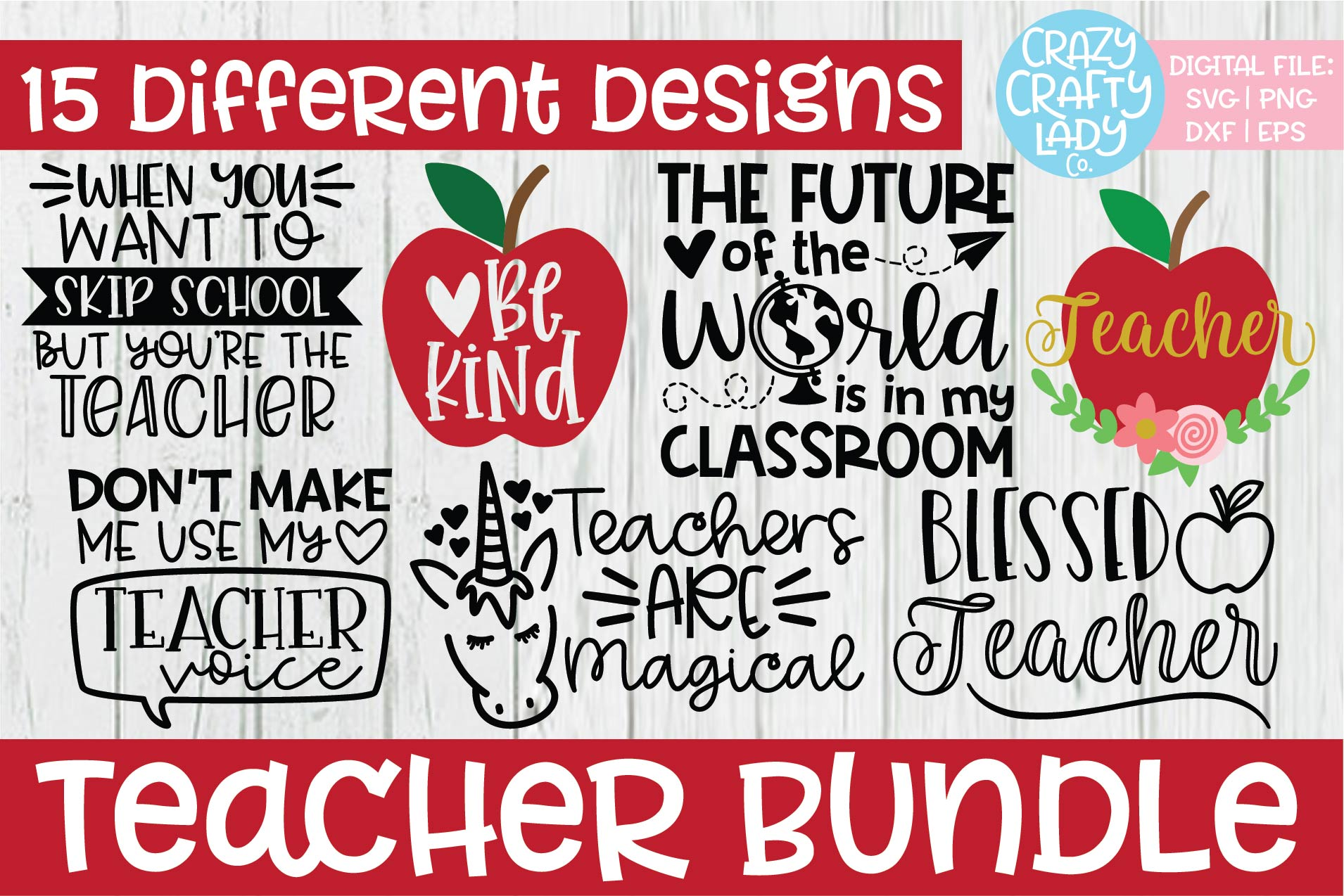 Teacher SVG DXF EPS PNG Cut File Bundle example image 1