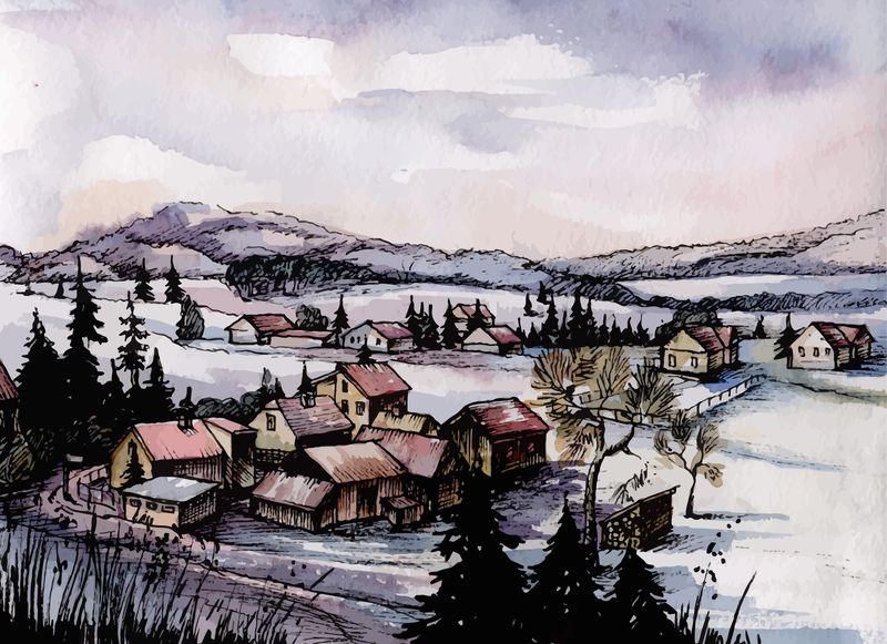 Countryside Watercolor Landscapes example image 4