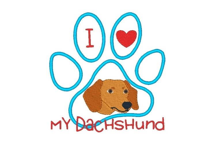 Dachshund Paw Print Machine Embroidery Design Set of 2 example image 2
