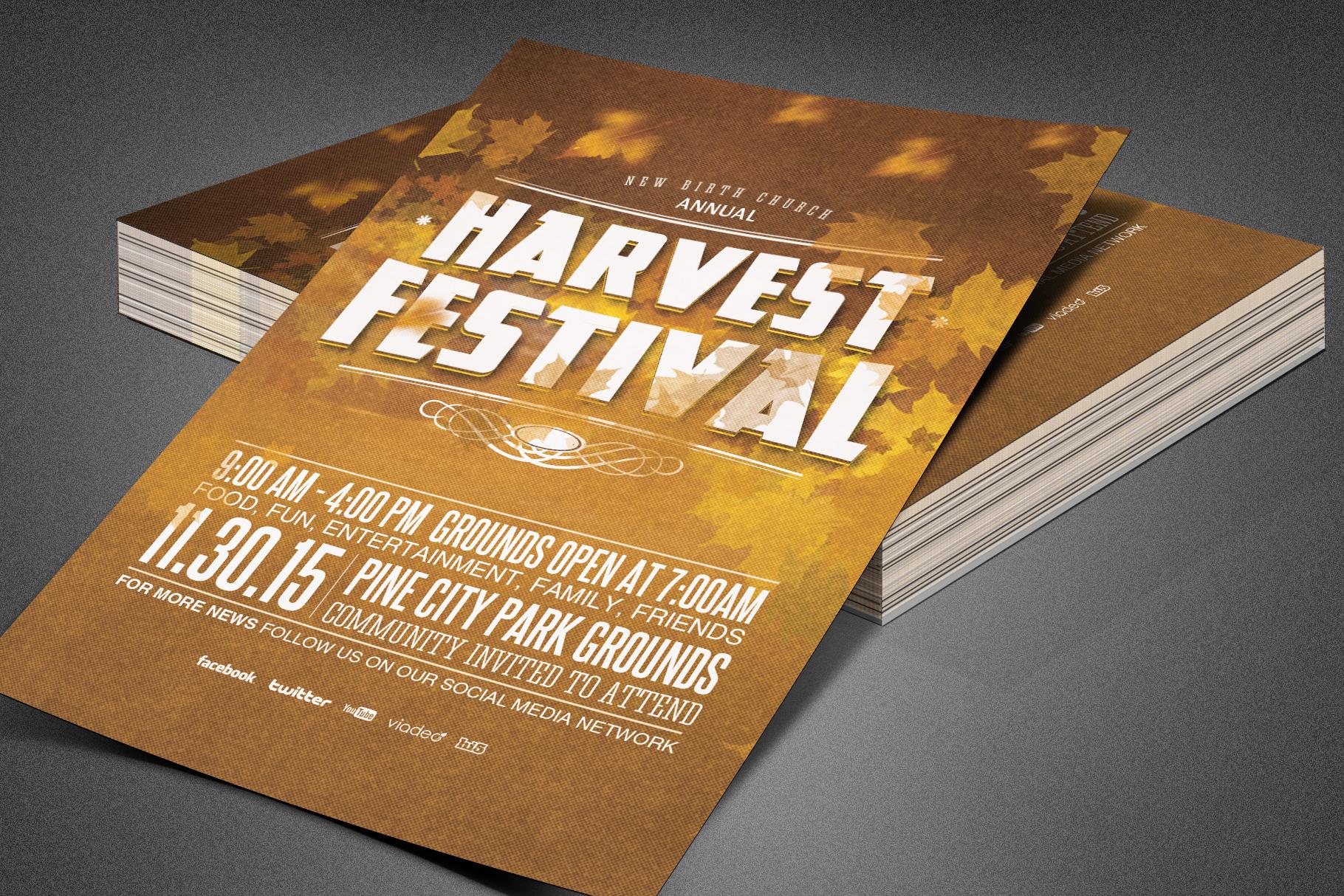 Harvest Festival Church Flyer example image 4