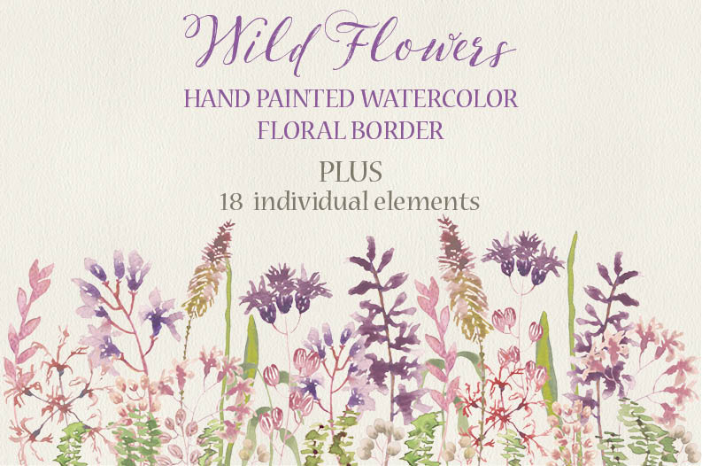 Wild flower border in watercolors example image 1