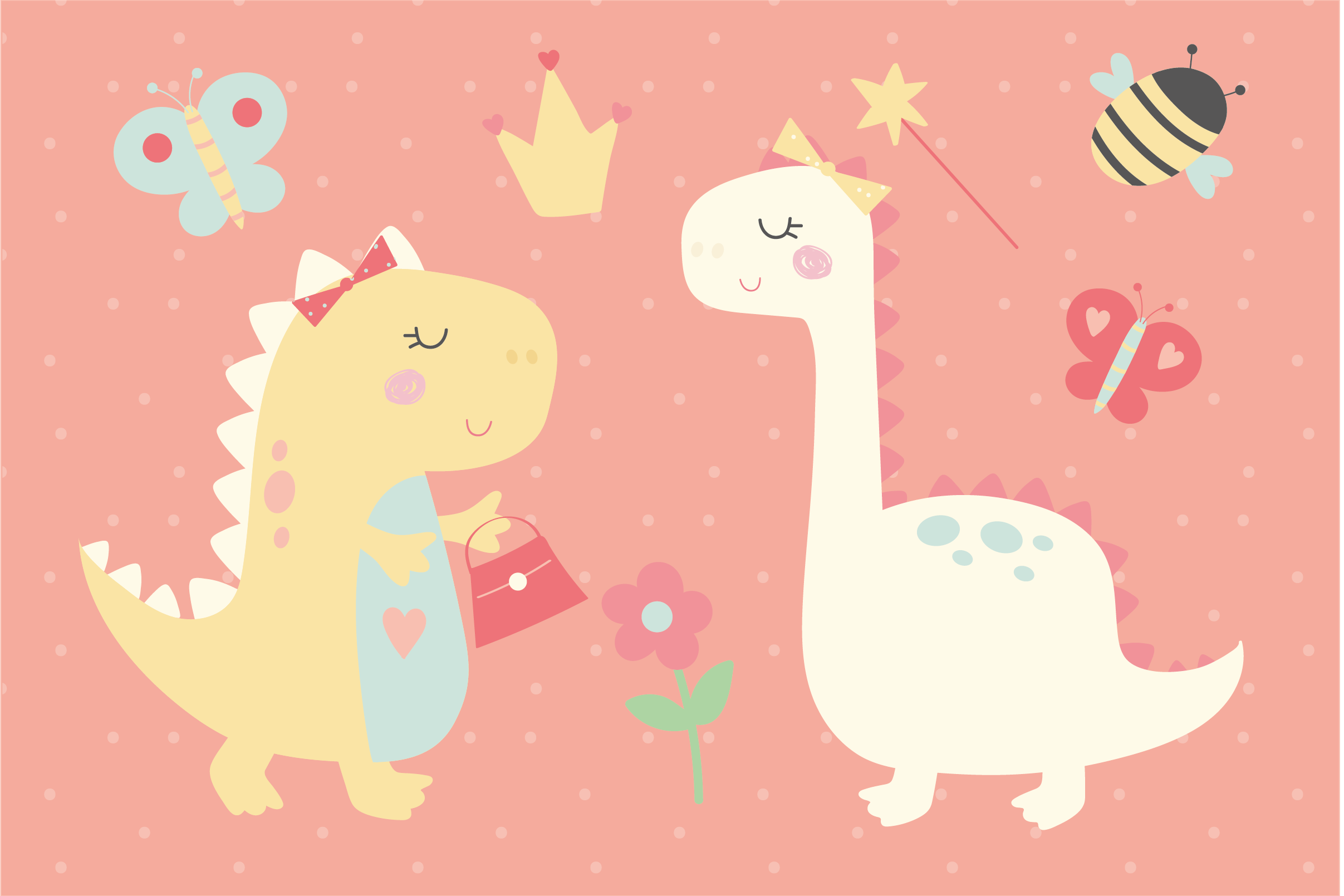 Girl Dinos, digital clipart and paper set example image 3