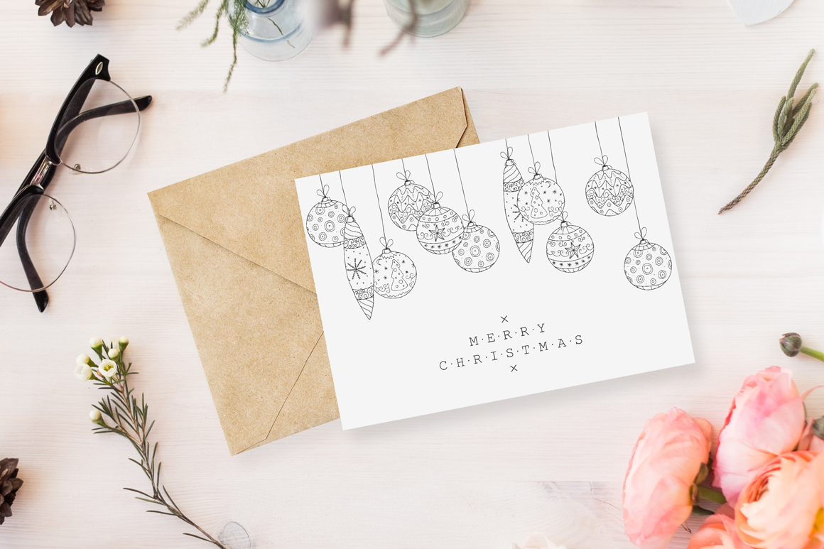 Bundle of Christmas hand drawn cards example image 5