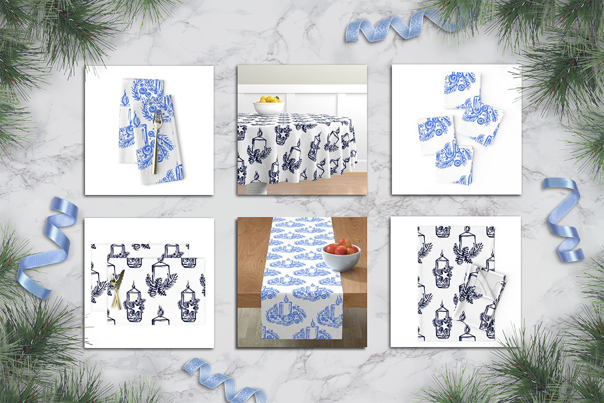 Hand drawn candles and lanterns, patterns and greeting cards example image 6